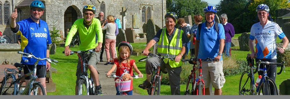 Cyclists at a church event